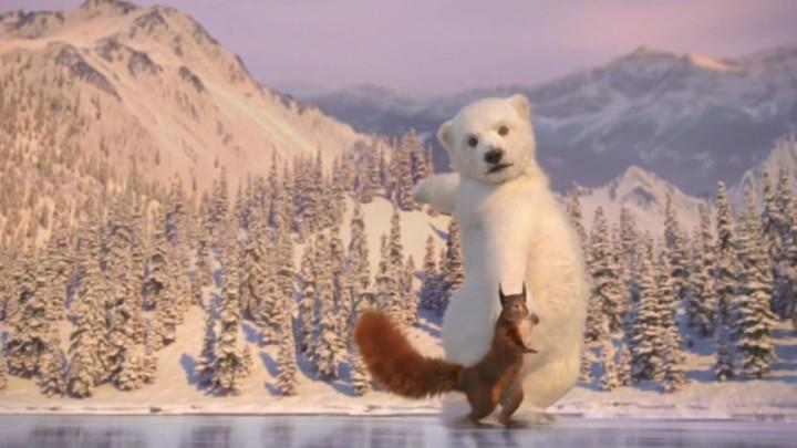 極可愛!北極熊松鼠溜冰廣告