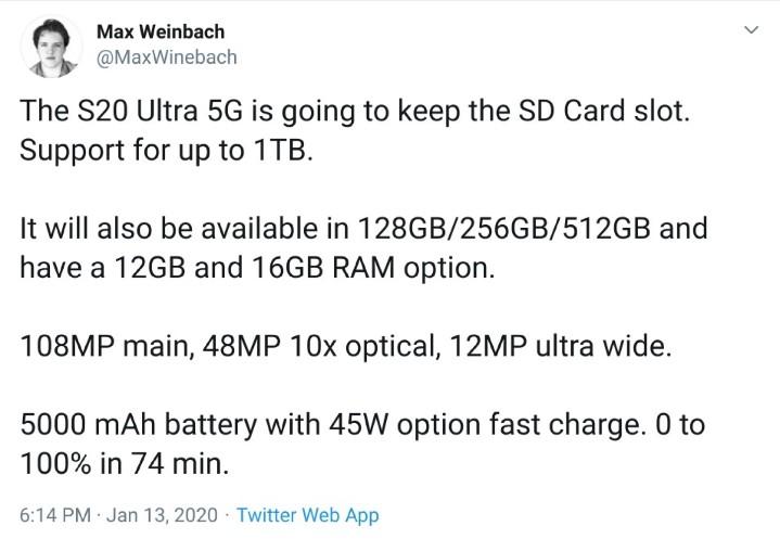 三星加入硬體軍備競賽!Galaxy S20 Ultra 可能推 16GB RAM 版本