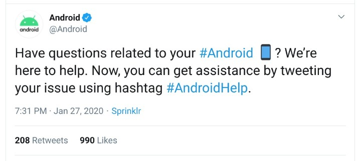 Google 推線上 Android 客服,在 Twitter 問問題並留言 #AndroidHelp 就有解答